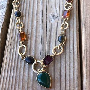 Loft Jewel Tone Matte Gold Chunky Necklace!